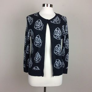 Ann Taylor charcoal grey rose cardigan